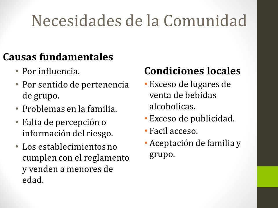 Necesidades de la Comunidad