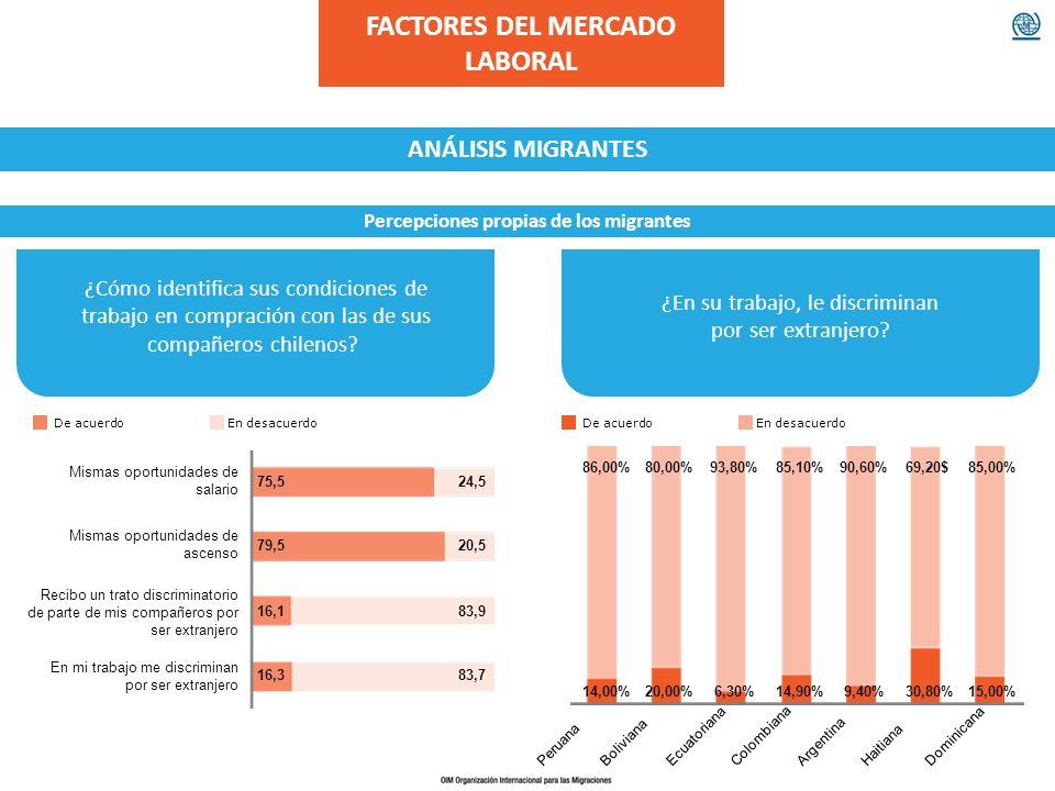 FACTORES DEL MERCADO LABORAL Percepciones propias de los migrantes