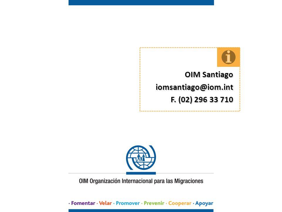 OIM Santiago iomsantiago@iom.int F. (02) 296 33 710