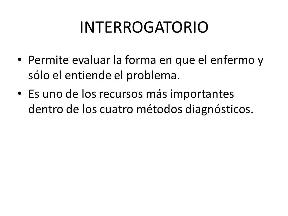 INTERROGATORIO Permite evaluar la forma en que el enfermo y sólo el entiende el problema.
