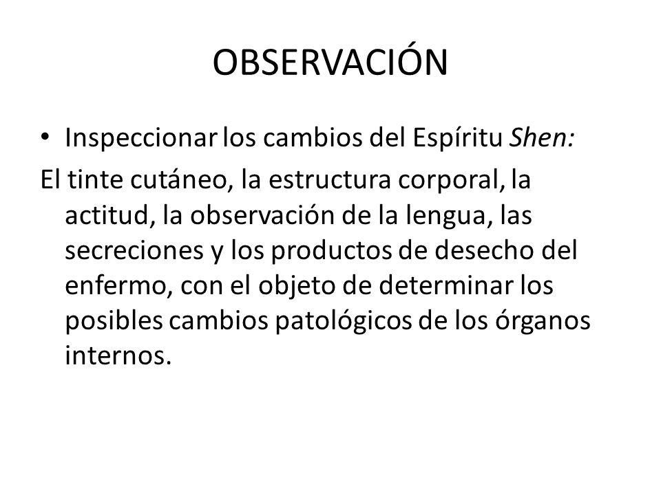 OBSERVACIÓN Inspeccionar los cambios del Espíritu Shen: