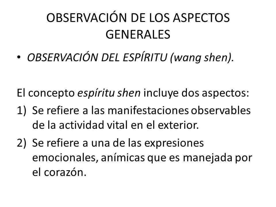 OBSERVACIÓN DE LOS ASPECTOS GENERALES