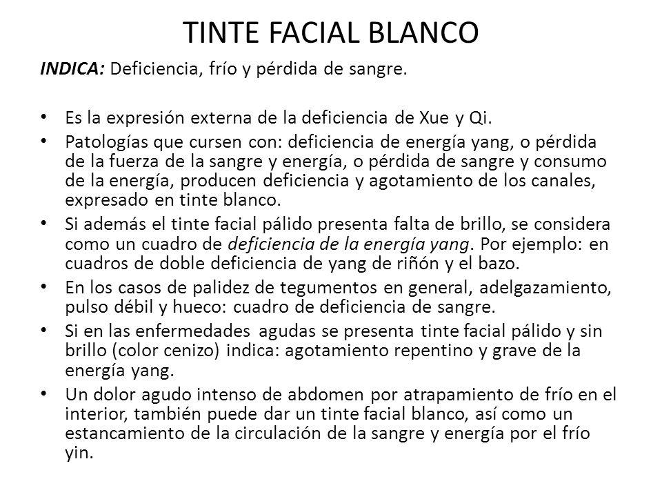 TINTE FACIAL BLANCO INDICA: Deficiencia, frío y pérdida de sangre.