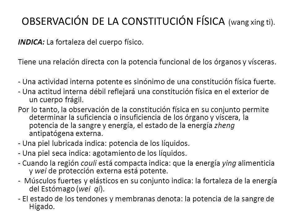 OBSERVACIÓN DE LA CONSTITUCIÓN FÍSICA (wang xing ti).