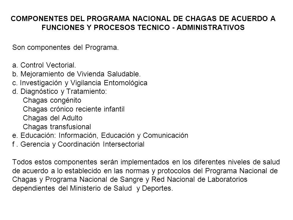 COMPONENTES DEL PROGRAMA NACIONAL DE CHAGAS DE ACUERDO A FUNCIONES Y PROCESOS TECNICO - ADMINISTRATIVOS
