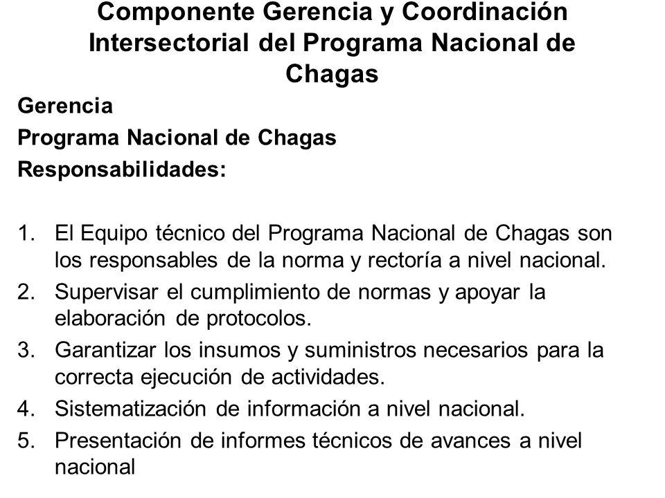 Componente Gerencia y Coordinación Intersectorial del Programa Nacional de Chagas