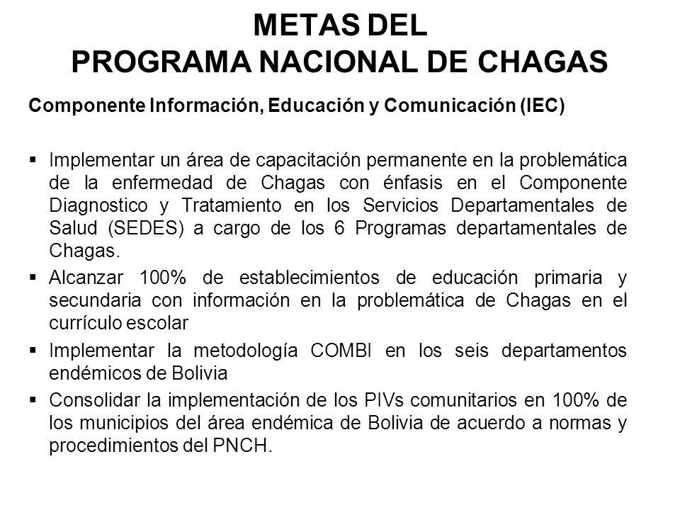 METAS DEL PROGRAMA NACIONAL DE CHAGAS