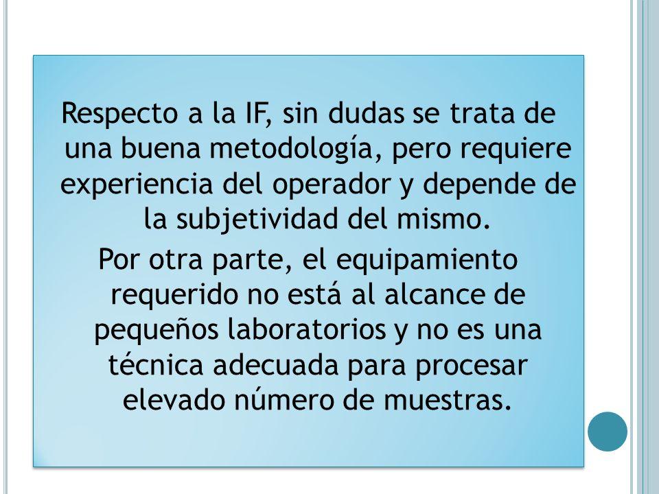 Respecto a la IF, sin dudas se trata de una buena metodología, pero requiere experiencia del operador y depende de la subjetividad del mismo.