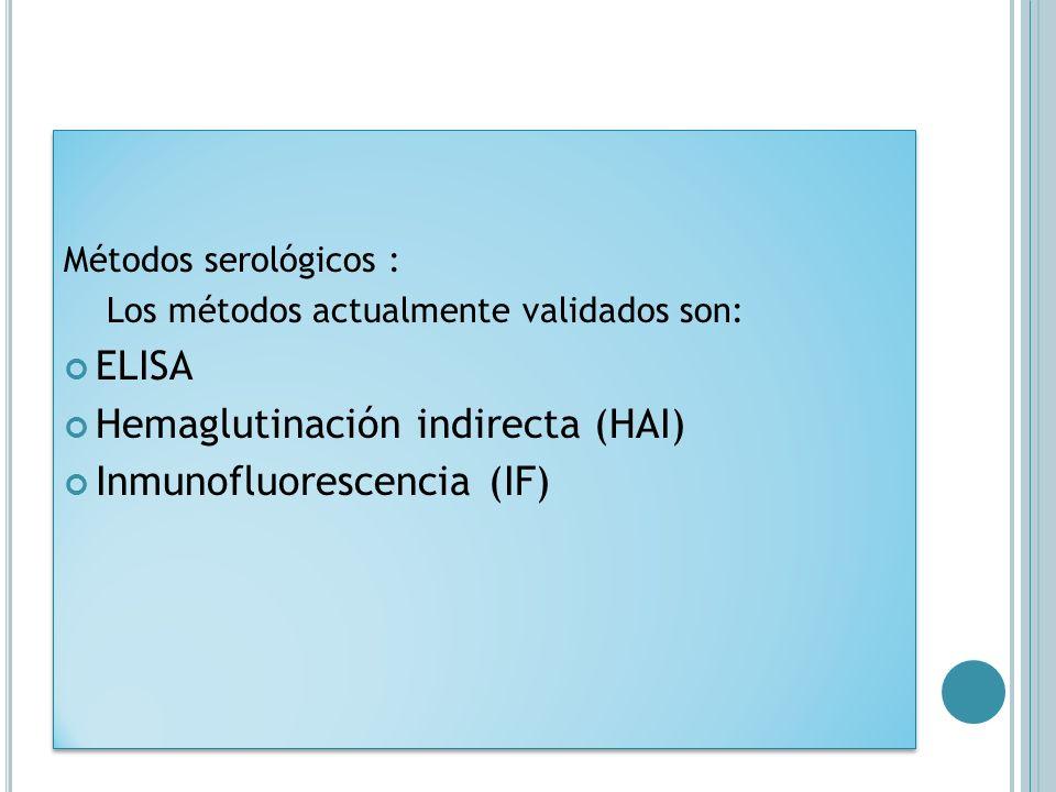 Hemaglutinación indirecta (HAI) Inmunofluorescencia (IF)