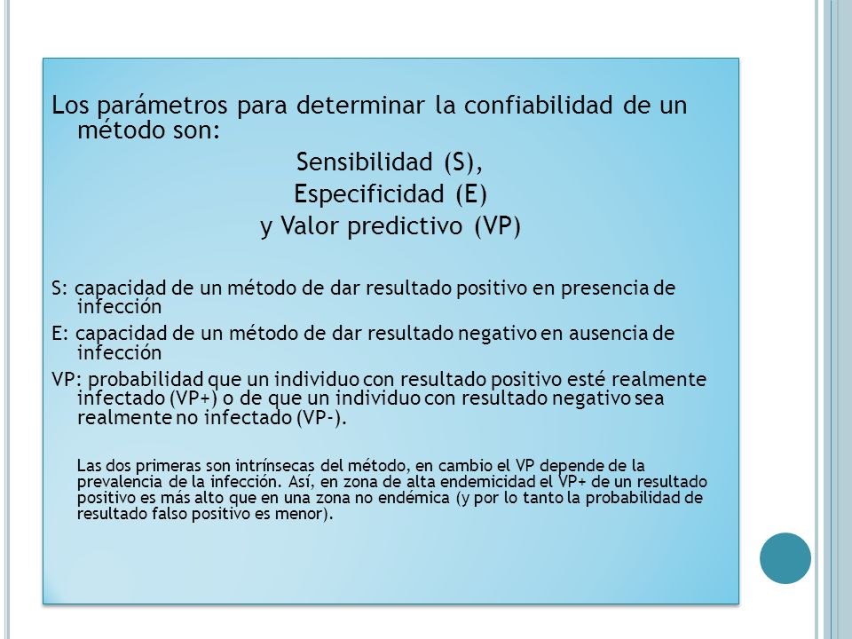 y Valor predictivo (VP)