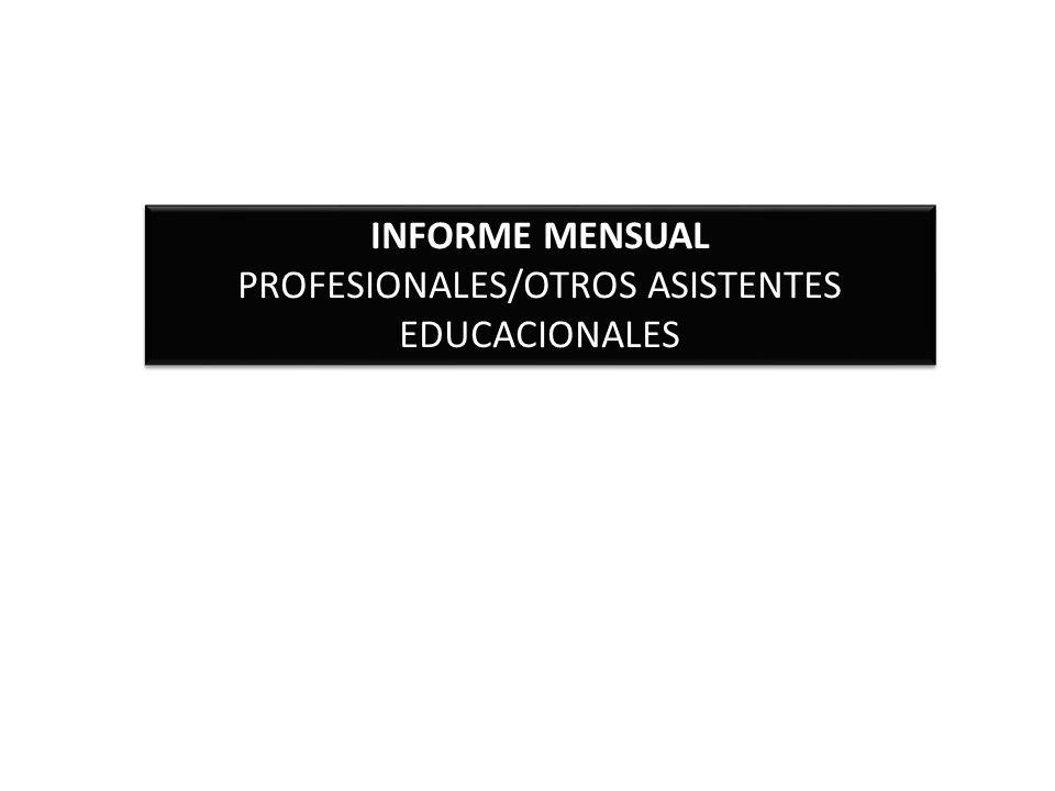 PROFESIONALES/OTROS ASISTENTES EDUCACIONALES