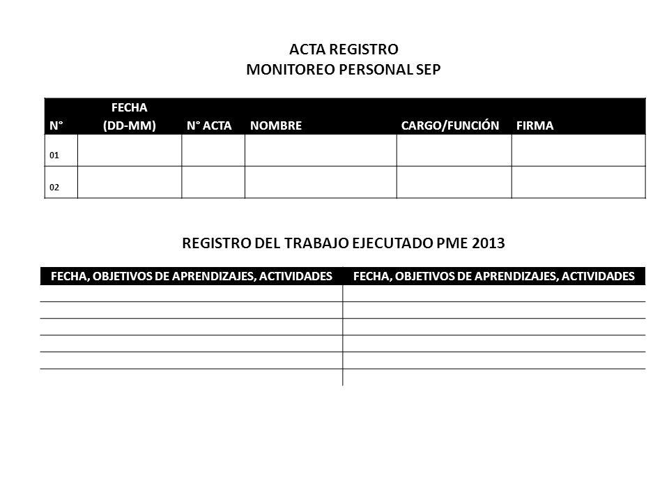 MONITOREO PERSONAL SEP REGISTRO DEL TRABAJO EJECUTADO PME 2013