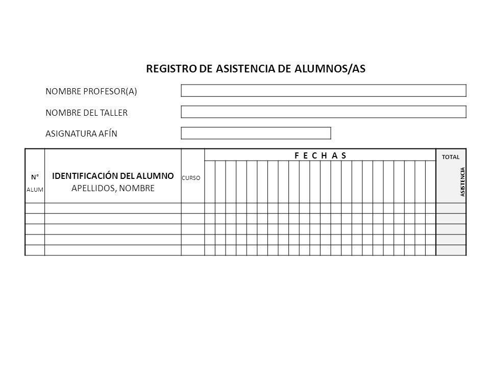 REGISTRO DE ASISTENCIA DE ALUMNOS/AS IDENTIFICACIÓN DEL ALUMNO
