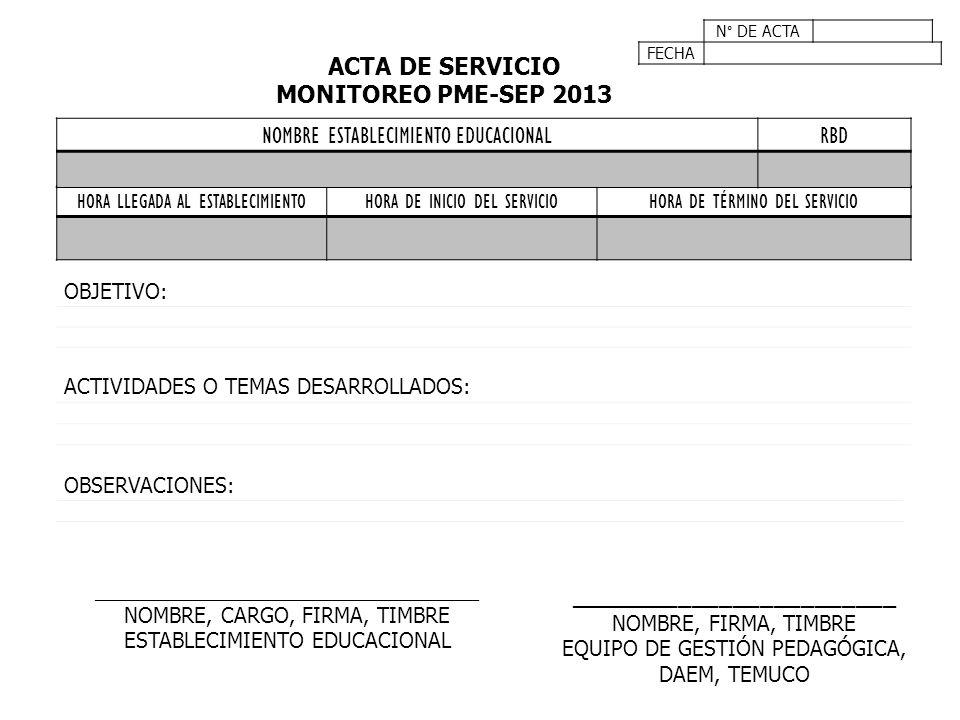 ACTA DE SERVICIO MONITOREO PME-SEP 2013 ________________________