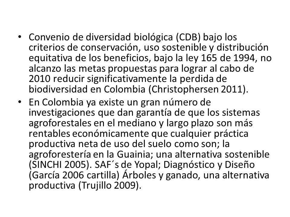Convenio de diversidad biológica (CDB) bajo los criterios de conservación, uso sostenible y distribución equitativa de los beneficios, bajo la ley 165 de 1994, no alcanzo las metas propuestas para lograr al cabo de 2010 reducir significativamente la perdida de biodiversidad en Colombia (Christophersen 2011).