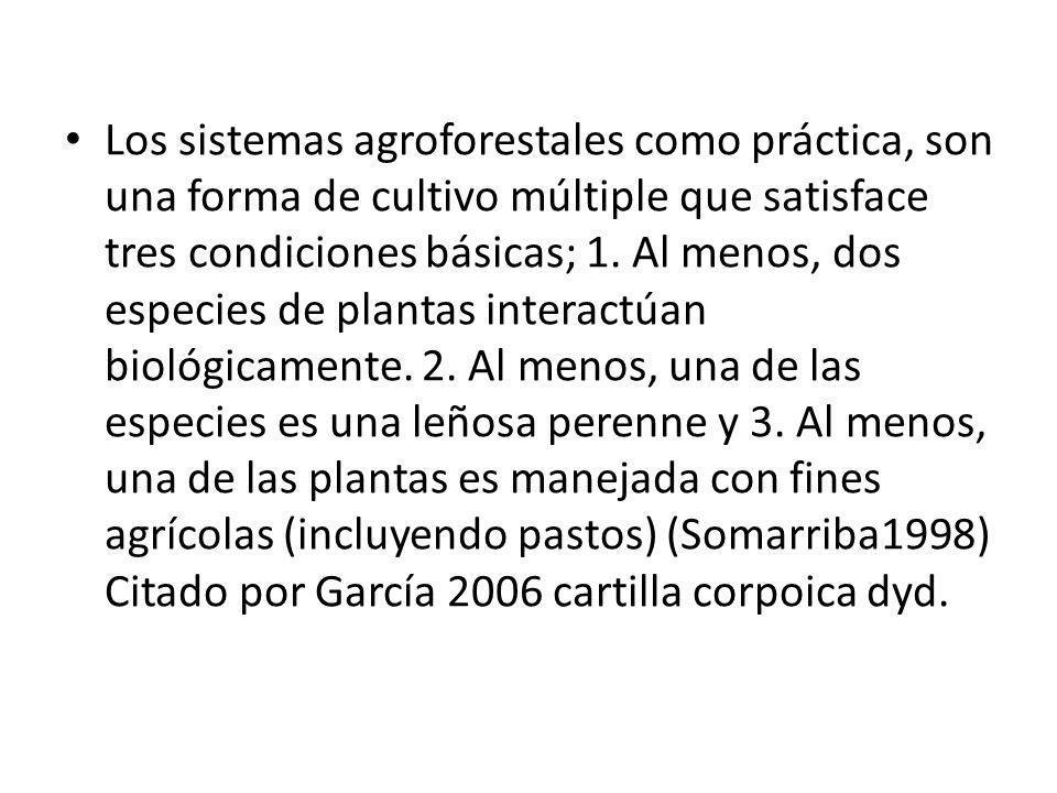 Los sistemas agroforestales como práctica, son una forma de cultivo múltiple que satisface tres condiciones básicas; 1.