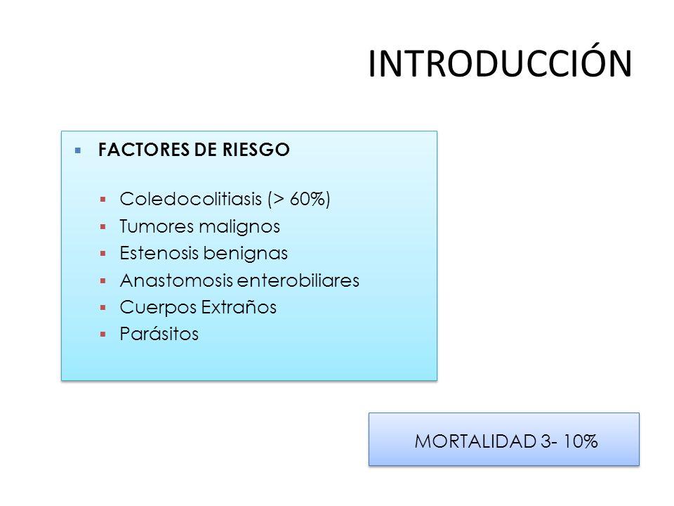 INTRODUCCIÓN FACTORES DE RIESGO Coledocolitiasis (> 60%)