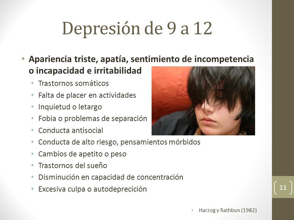 Depresión de 9 a 12 Apariencia triste, apatía, sentimiento de incompetencia o incapacidad e irritabilidad.