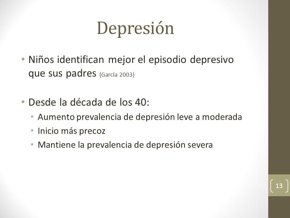 Depresión Niños identifican mejor el episodio depresivo que sus padres (García 2003) Desde la década de los 40: