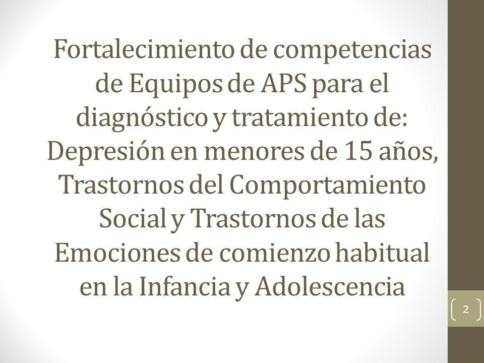 Fortalecimiento de competencias de Equipos de APS para el diagnóstico y tratamiento de: Depresión en menores de 15 años, Trastornos del Comportamiento Social y Trastornos de las Emociones de comienzo habitual en la Infancia y Adolescencia