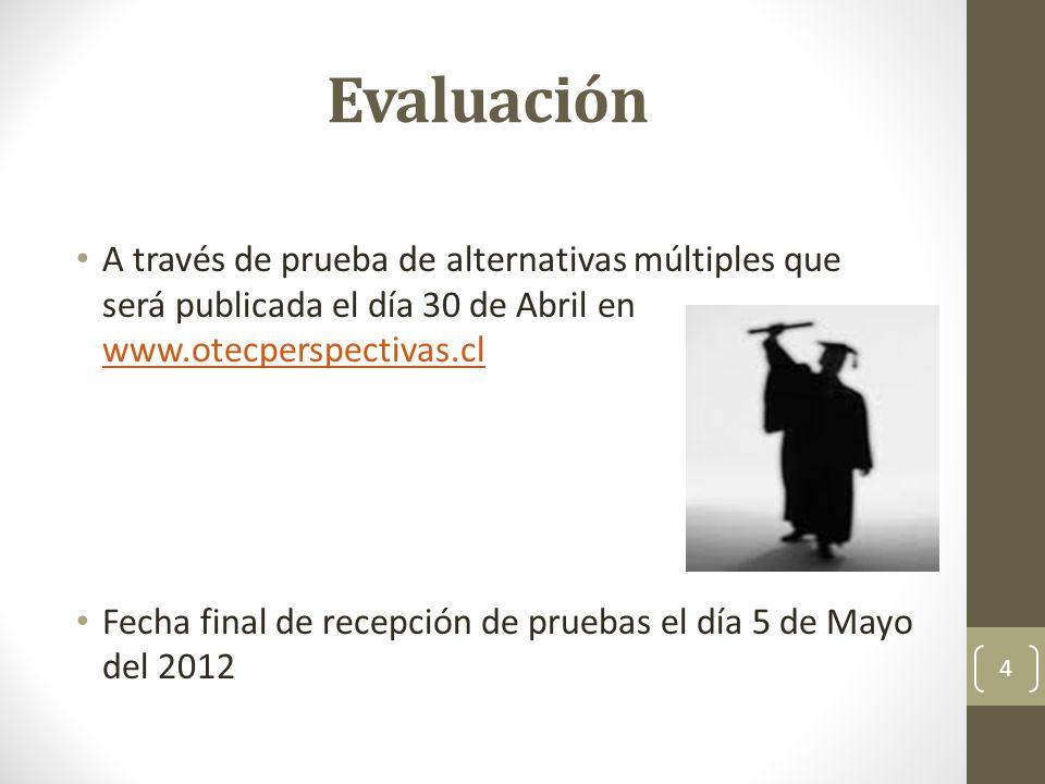 Evaluación A través de prueba de alternativas múltiples que será publicada el día 30 de Abril en www.otecperspectivas.cl.