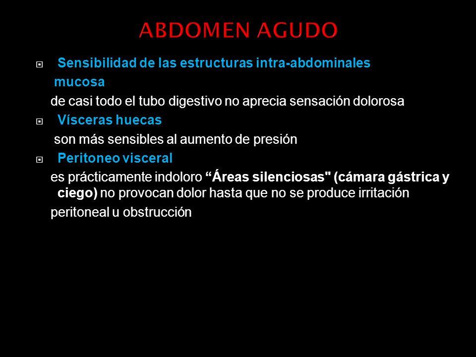 ABDOMEN AGUDO Sensibilidad de las estructuras intra-abdominales mucosa