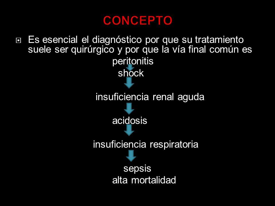 CONCEPTO Es esencial el diagnóstico por que su tratamiento suele ser quirúrgico y por que la vía final común es.