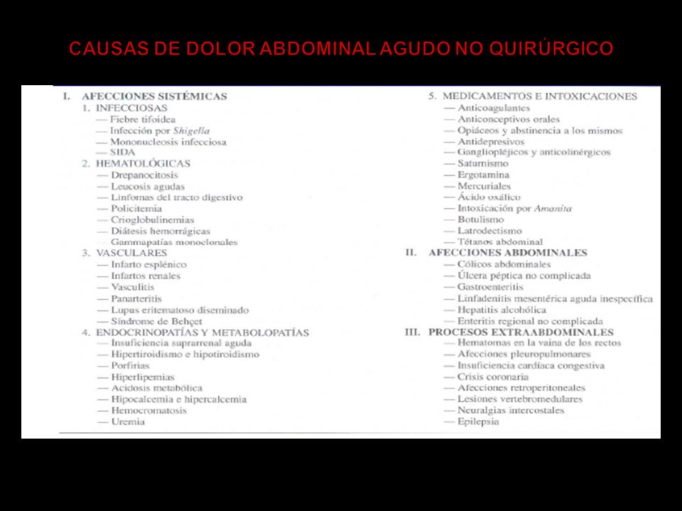 CAUSAS DE DOLOR ABDOMINAL AGUDO NO QUIRÚRGICO