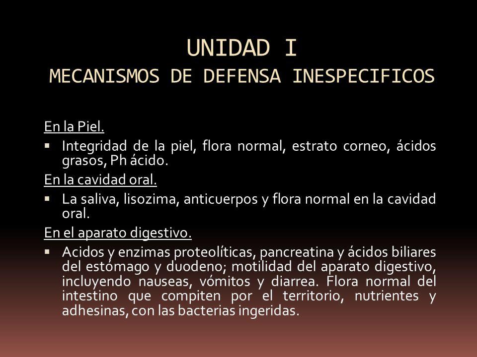 UNIDAD I MECANISMOS DE DEFENSA INESPECIFICOS
