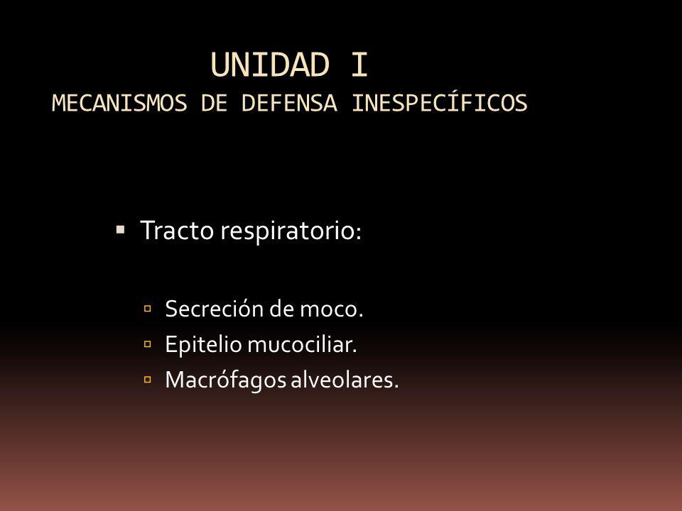UNIDAD I MECANISMOS DE DEFENSA INESPECÍFICOS