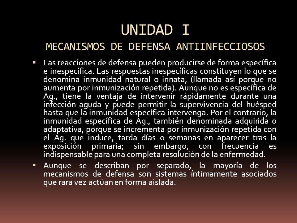 UNIDAD I MECANISMOS DE DEFENSA ANTIINFECCIOSOS