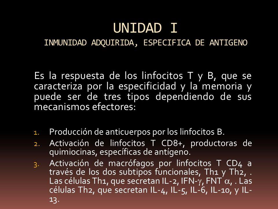 UNIDAD I INMUNIDAD ADQUIRIDA, ESPECIFICA DE ANTIGENO
