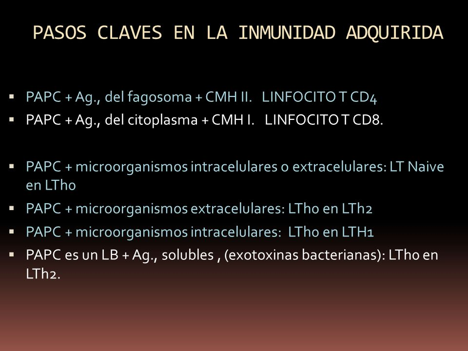 PASOS CLAVES EN LA INMUNIDAD ADQUIRIDA