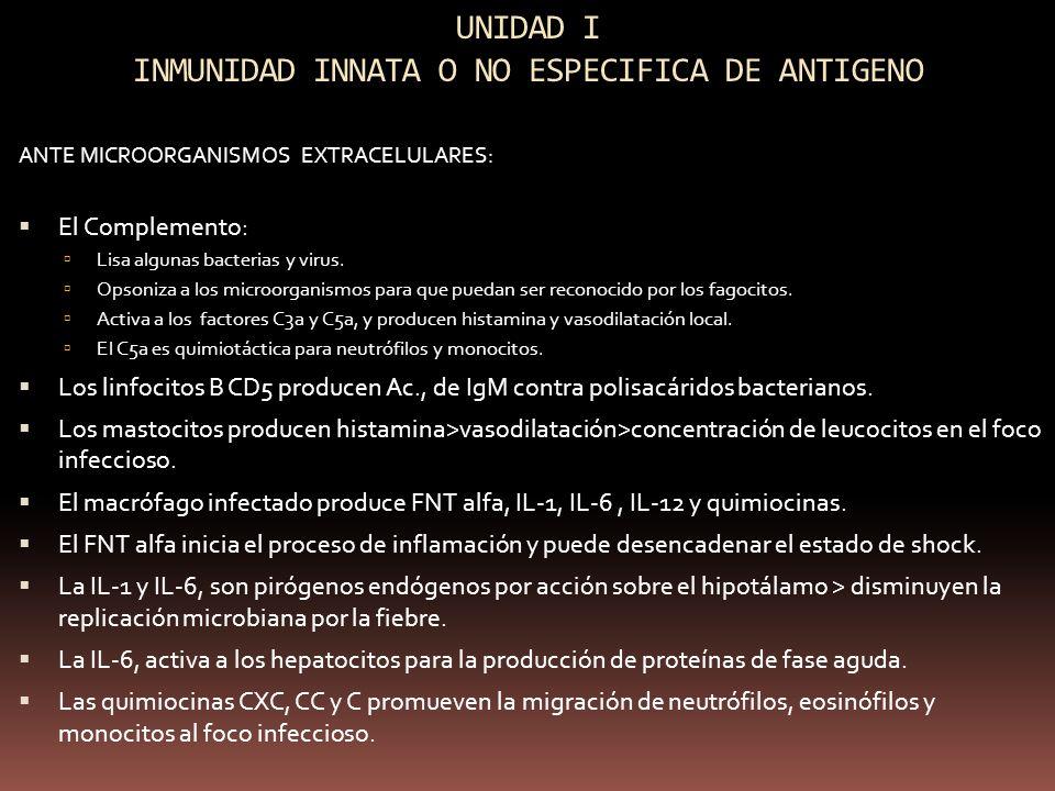 UNIDAD I INMUNIDAD INNATA O NO ESPECIFICA DE ANTIGENO