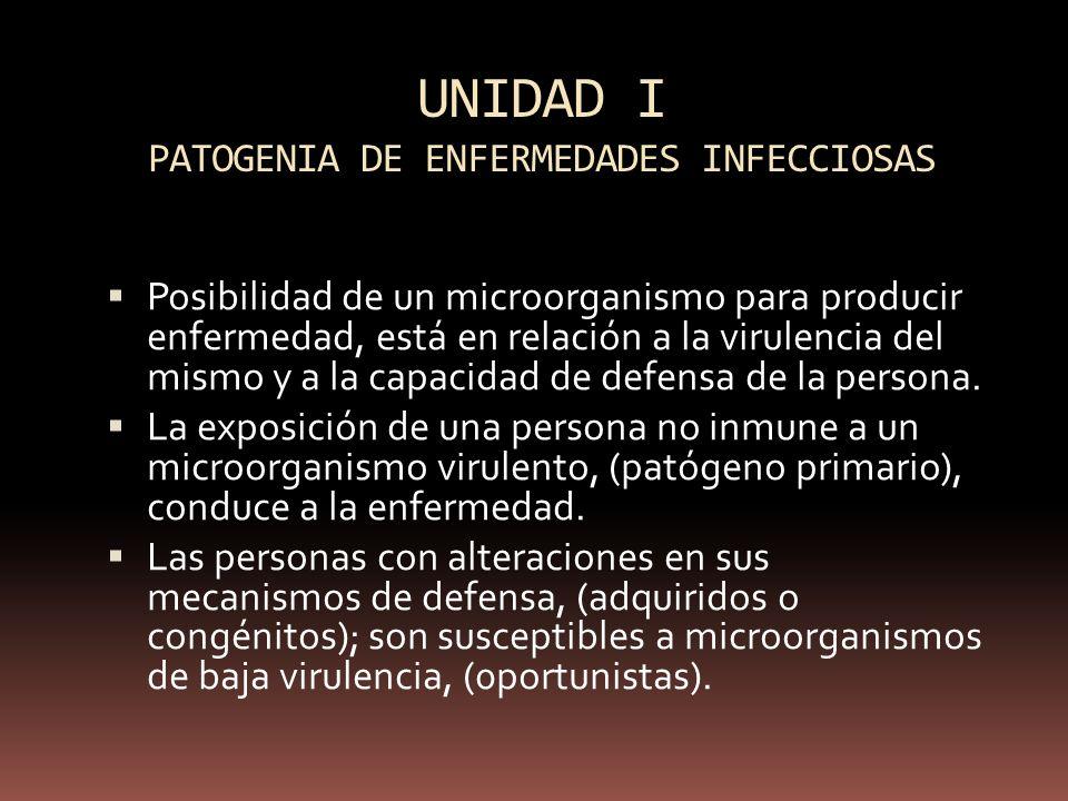 UNIDAD I PATOGENIA DE ENFERMEDADES INFECCIOSAS