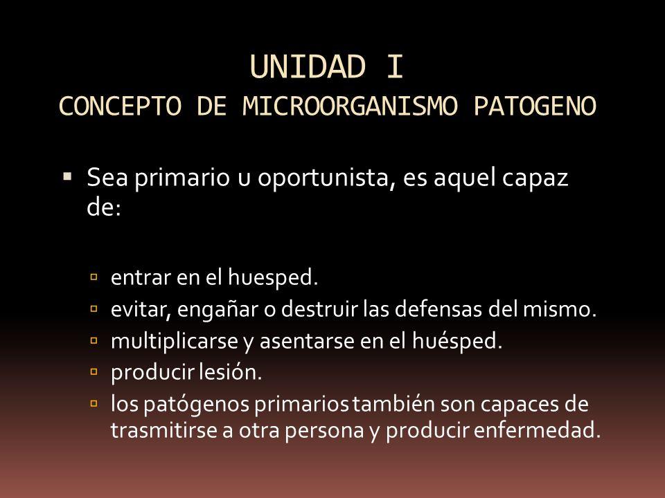 UNIDAD I CONCEPTO DE MICROORGANISMO PATOGENO
