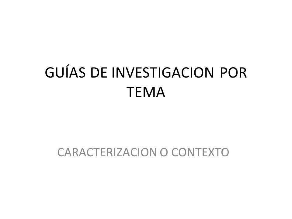 GUÍAS DE INVESTIGACION POR TEMA