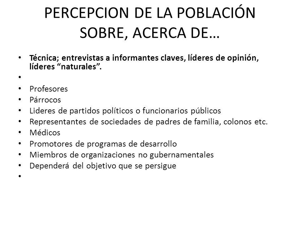 PERCEPCION DE LA POBLACIÓN SOBRE, ACERCA DE…
