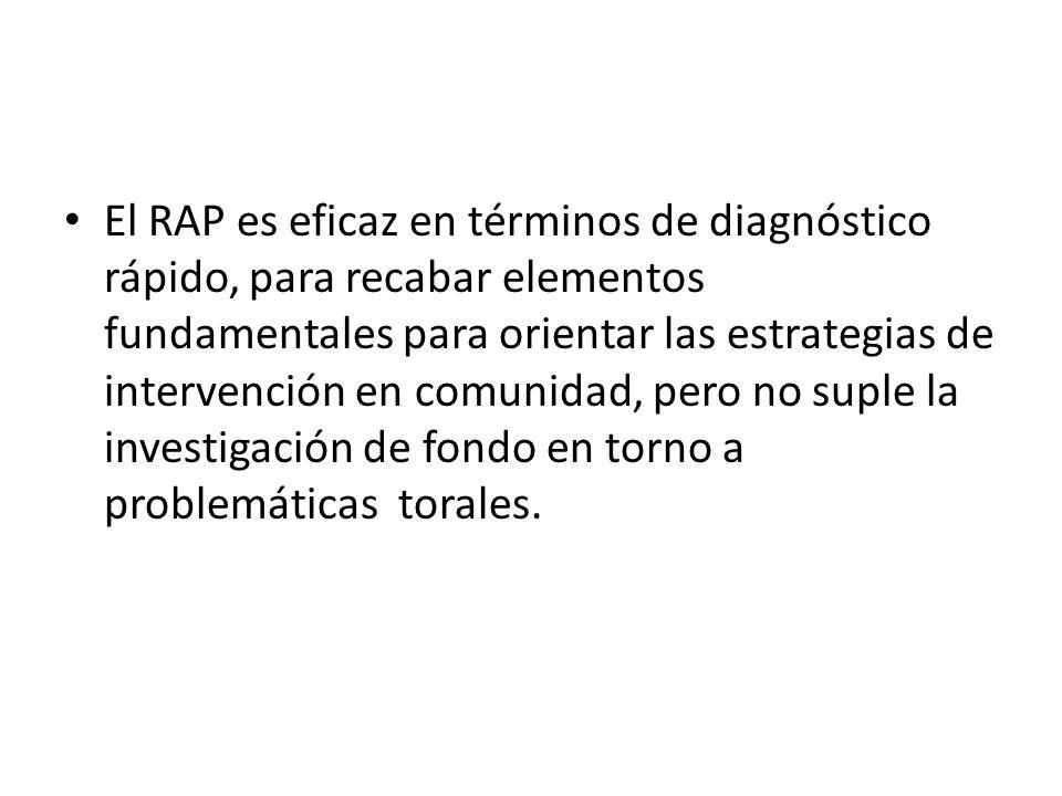 El RAP es eficaz en términos de diagnóstico rápido, para recabar elementos fundamentales para orientar las estrategias de intervención en comunidad, pero no suple la investigación de fondo en torno a problemáticas torales.