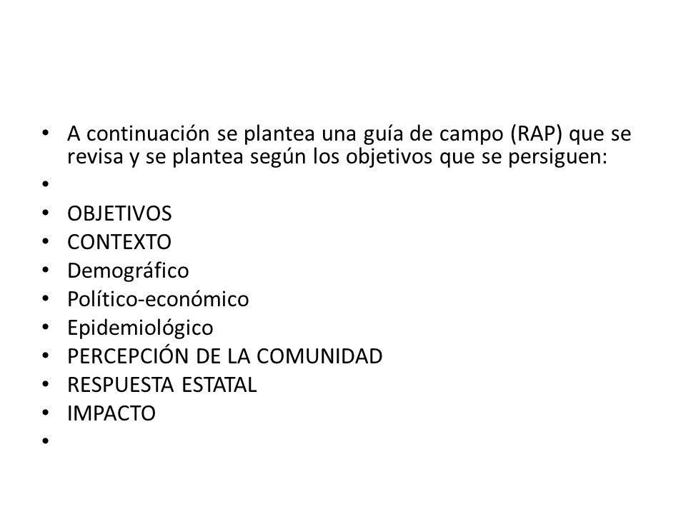 A continuación se plantea una guía de campo (RAP) que se revisa y se plantea según los objetivos que se persiguen: