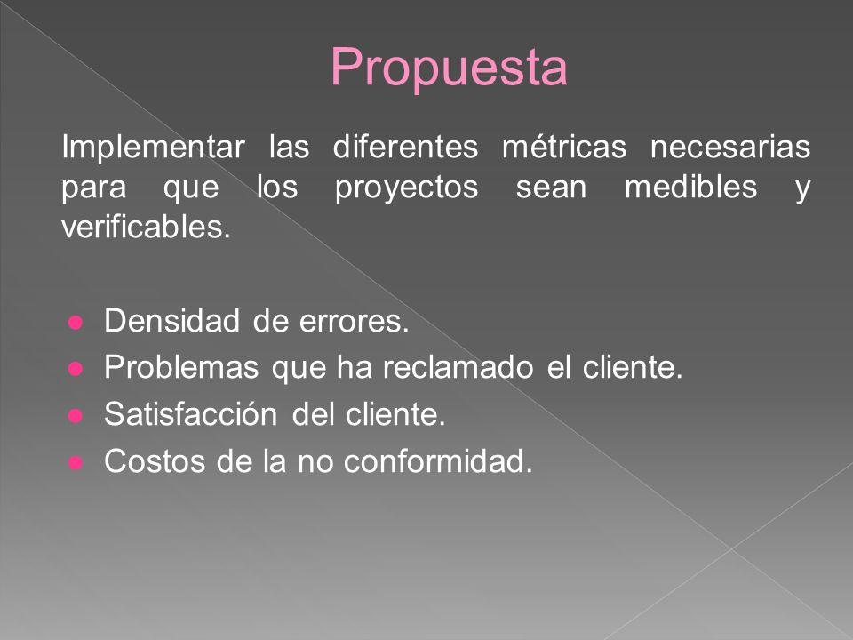 Propuesta Implementar las diferentes métricas necesarias para que los proyectos sean medibles y verificables.