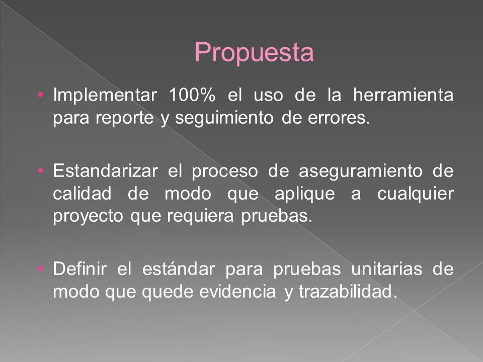 Propuesta Implementar 100% el uso de la herramienta para reporte y seguimiento de errores.