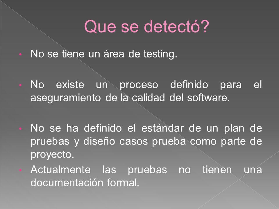 Que se detectó No se tiene un área de testing.