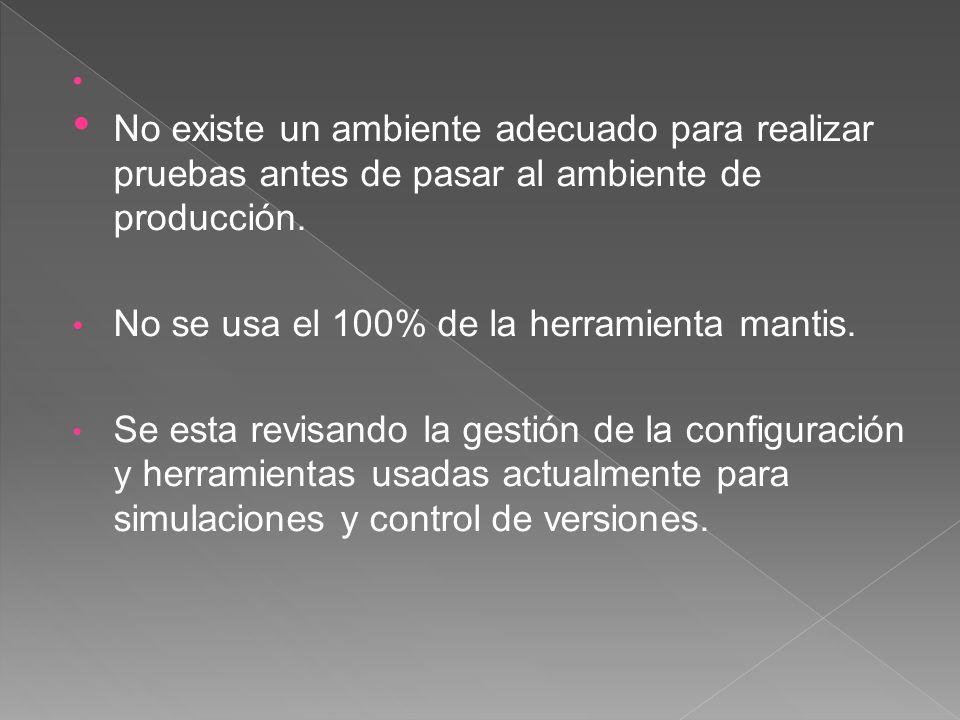 No se usa el 100% de la herramienta mantis.