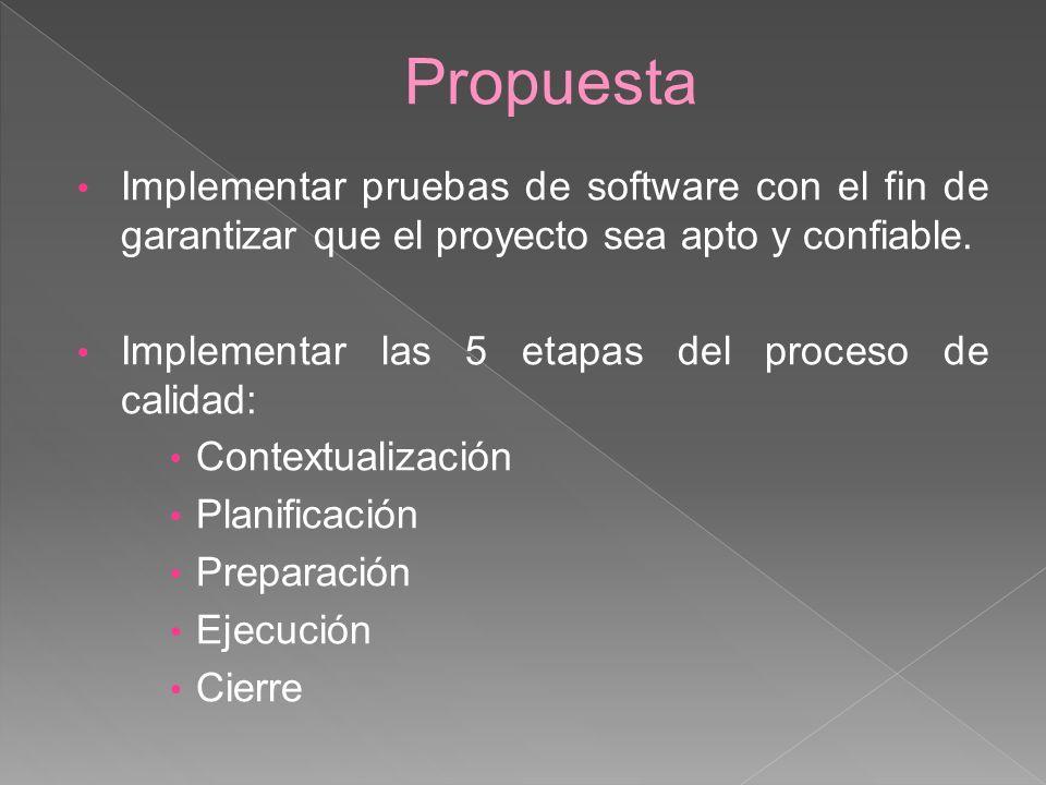 Propuesta Implementar pruebas de software con el fin de garantizar que el proyecto sea apto y confiable.