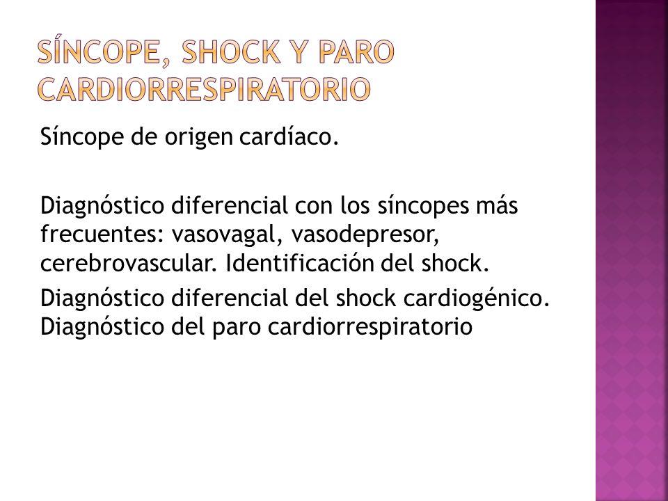 Síncope, shock y paro cardiorrespiratorio