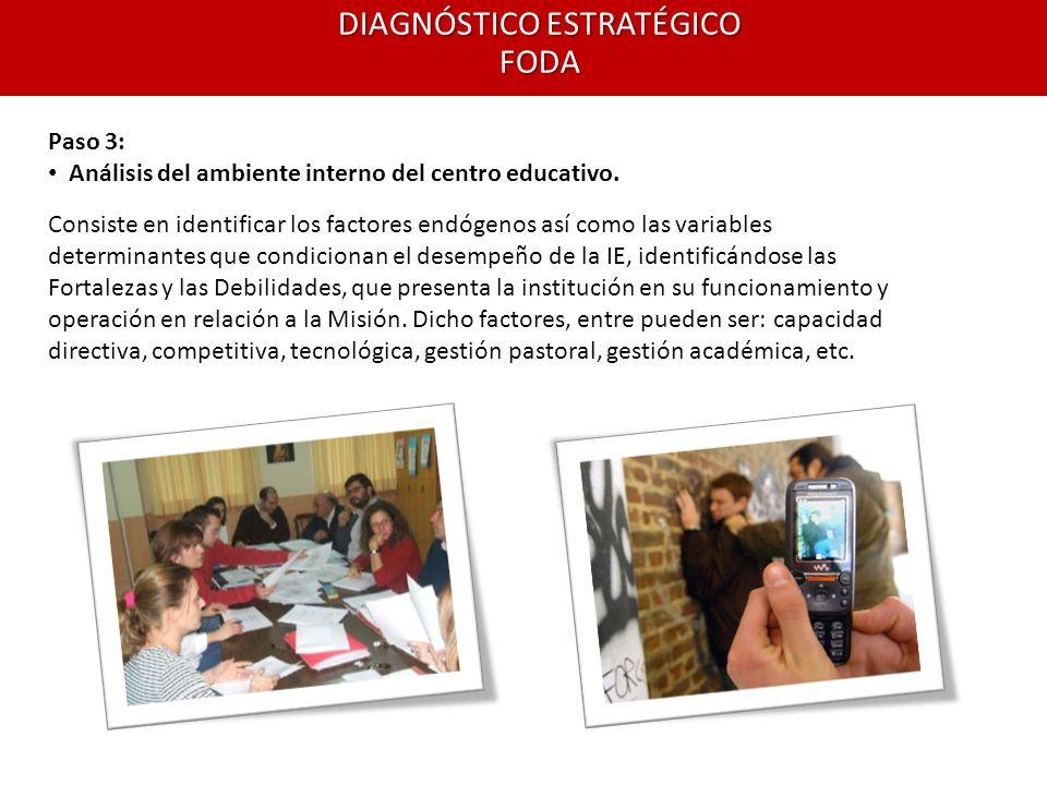 Paso 3: Análisis del ambiente interno del centro educativo.