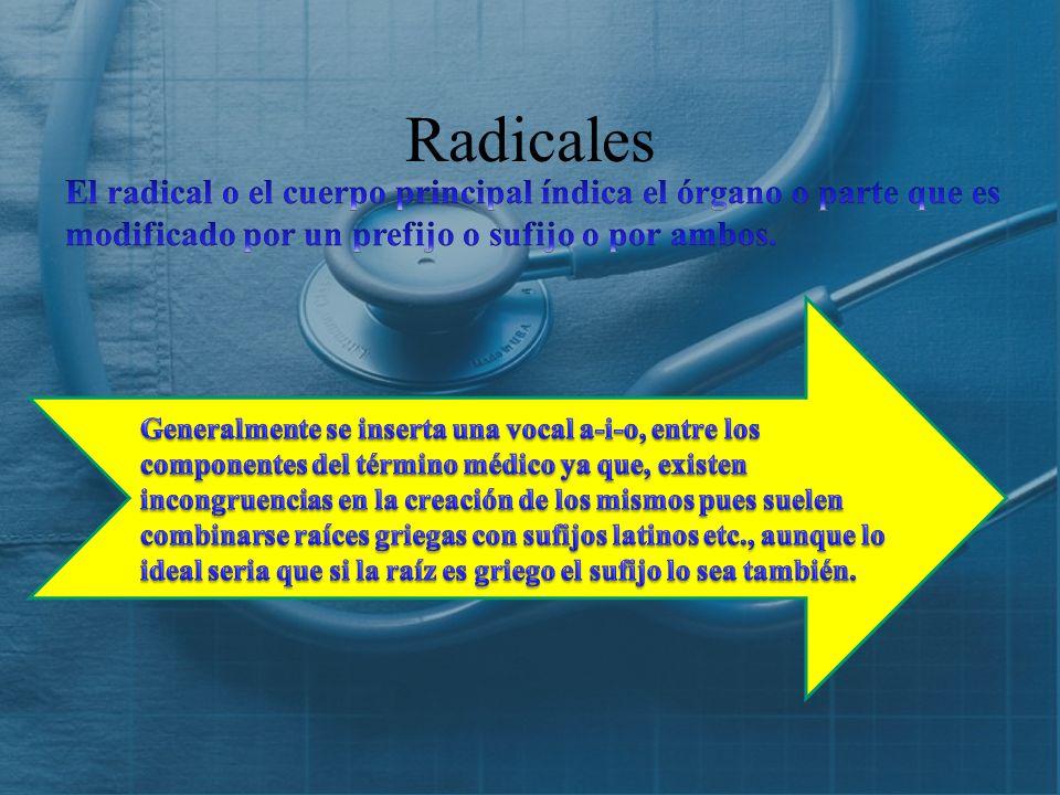 Radicales El radical o el cuerpo principal índica el órgano o parte que es modificado por un prefijo o sufijo o por ambos.