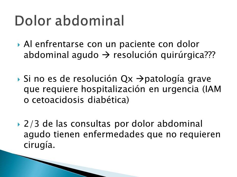 Dolor abdominal Al enfrentarse con un paciente con dolor abdominal agudo  resolución quirúrgica