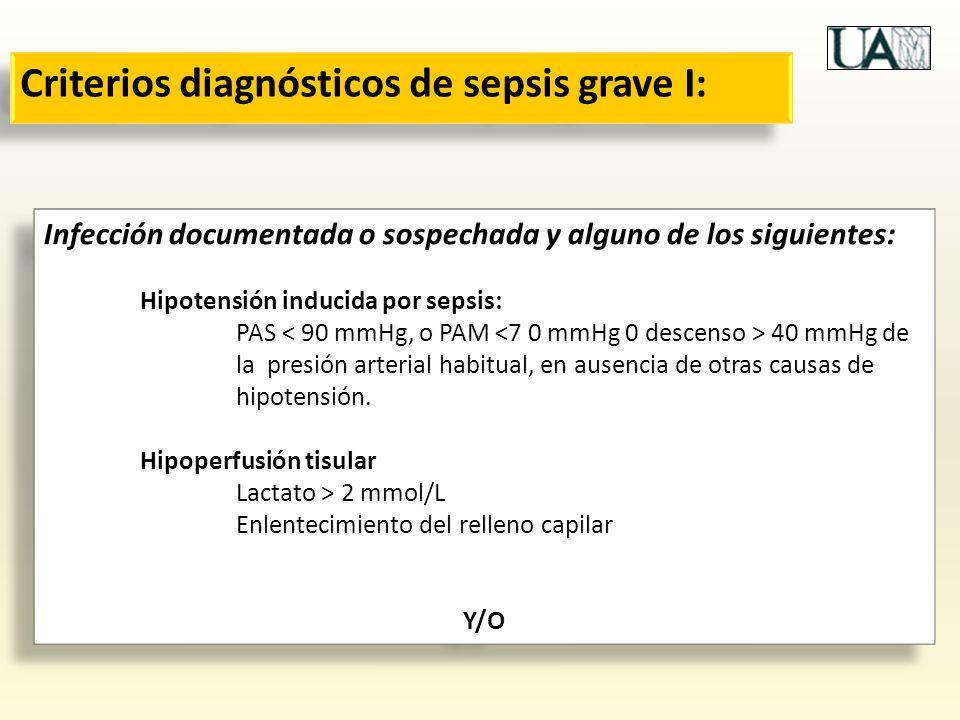 Criterios diagnósticos de sepsis grave I: